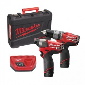 Milwaukee - Pack 2 Machines 12V 2Ah (Perceuse-visseuse à percussion + Visseuse à chocs) - M12 PP2A-2