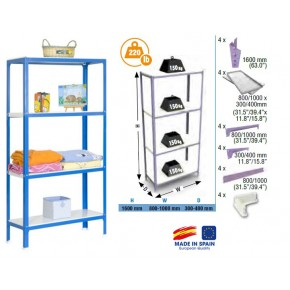Simon Rack Homeclick colour mini 4-300 blanc bleu